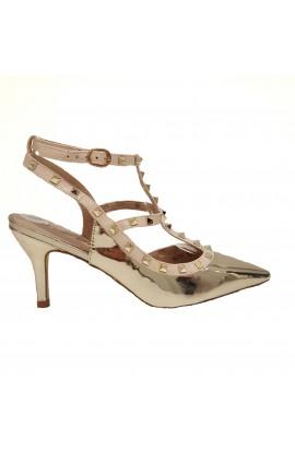 Stud Ankle Strap Heels Gold