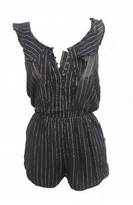 Silver Pinstripe Playsuit Black