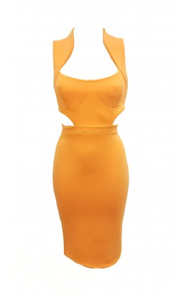 Cut Out Side Dress Orange