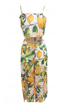 Lemon Split Leg Co-ord Set