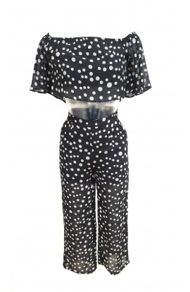 Polka Dot Strapless Top & Trouser Set