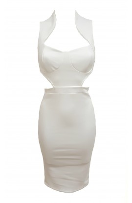 Cut Out Side Dress White