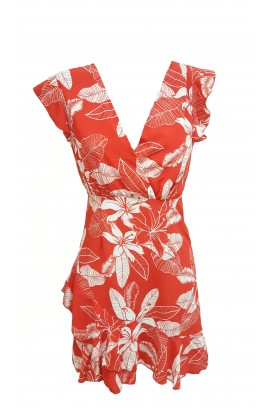 Floral Wrap Dress Red