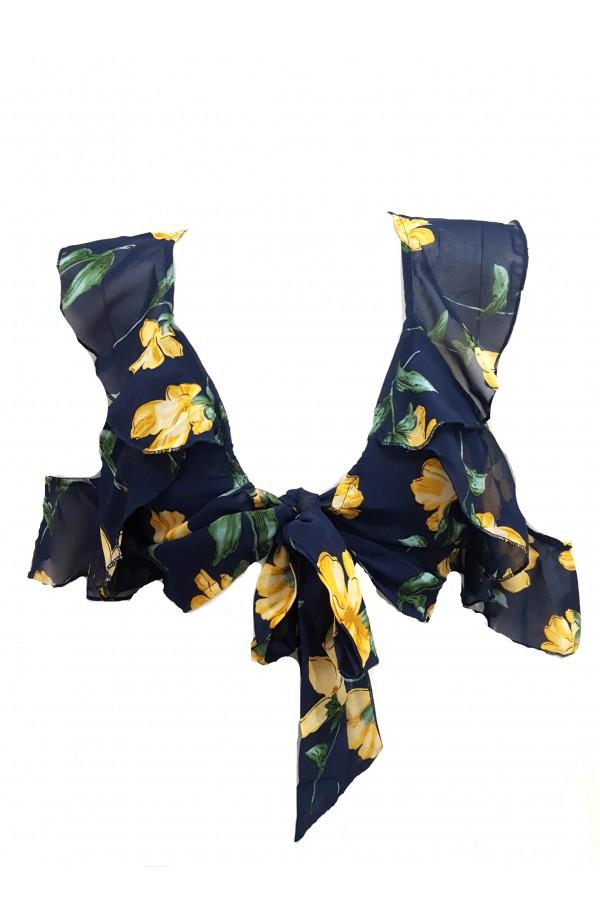 Cold Shoulder Split Leg Co-ord Set Blue