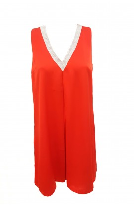 Diamante V-Neck Split Back Tunic Red