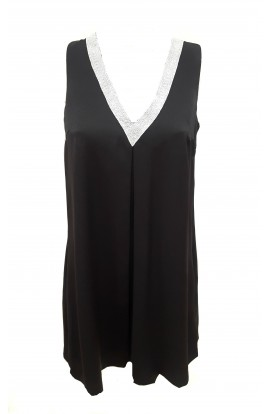 Diamante V-Neck Split Back Tunic Black