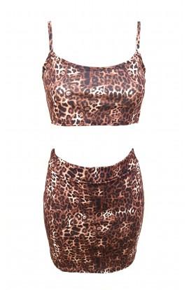 Leopard Skirt & Crop Top Set