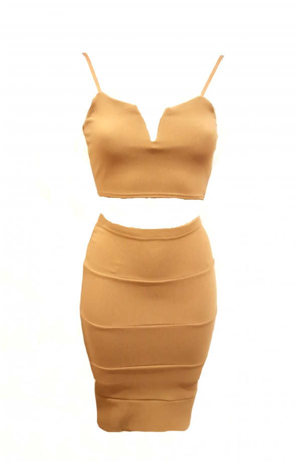 Bodycon Skirt & Crop Top Camel