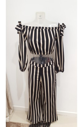 Stripe Top + Trousers Co-ord Set