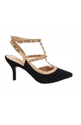 Stud And Diamante Ankle Strap Heels Black