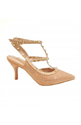 Stud And Diamante Ankle Strap Heels Pink
