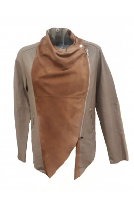 Publicised Leather Jacket Taupe