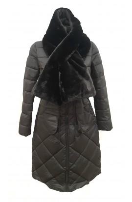 Fur Detail Puffa  Jacket Black