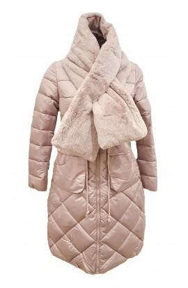 Fur Detail Puffa  Jacket Pink