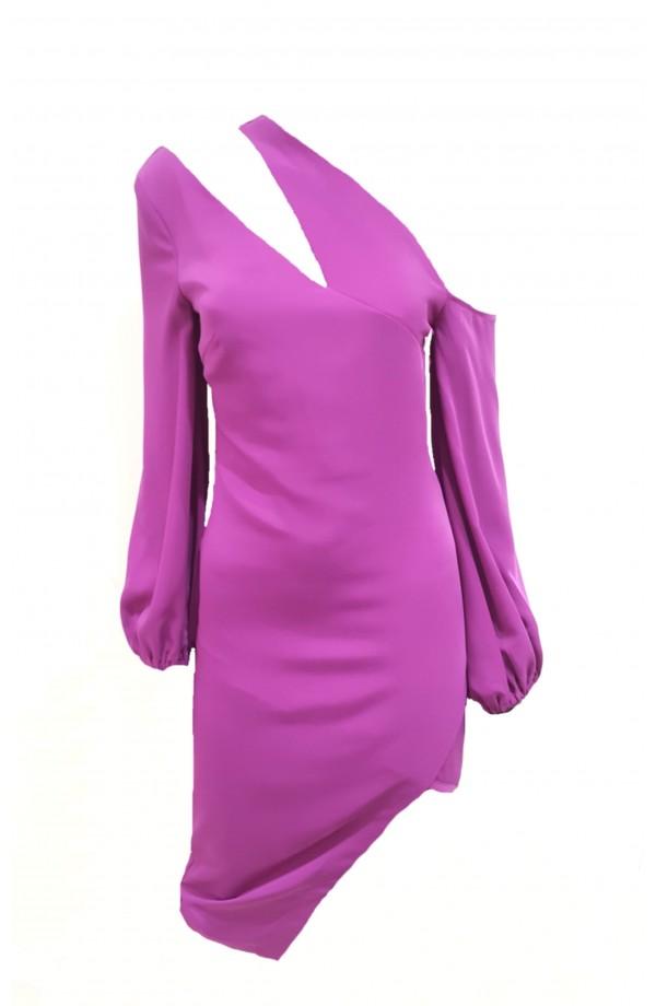 Lavish Alice One Shoulder Balloon Sleeve Midi Dress Purple LA918