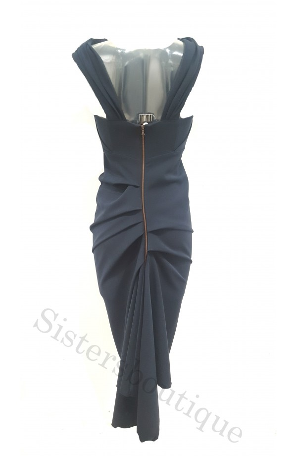 Kevan Jon Sian Drape Dress Navy