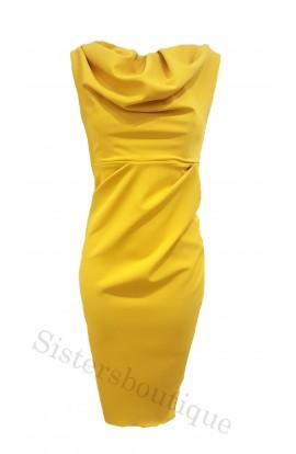 Kevan Jon Sian Drape Dress Mustard
