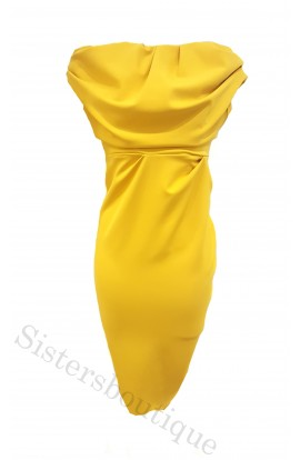 Kevan Jon Sian Drape Dress Mustard