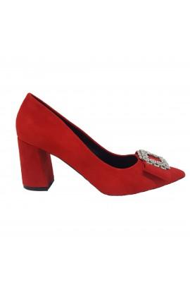 Buckle Front Block Heel Red