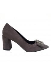 Buckle Front Block Heel Grey