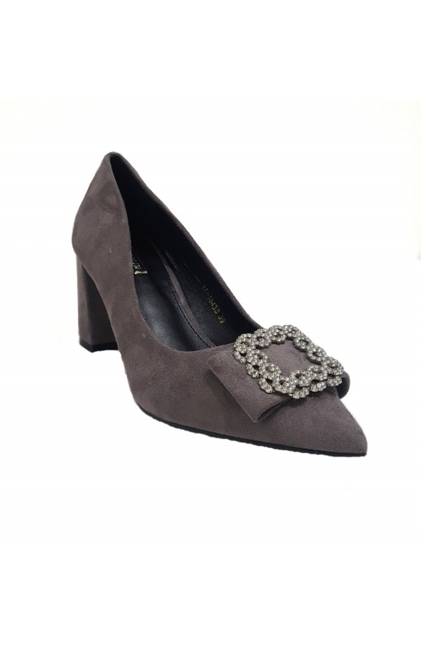 Buckle Front Block Heel Grey