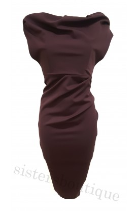 Kevan Jon Sian Pencil Dress Aubergine