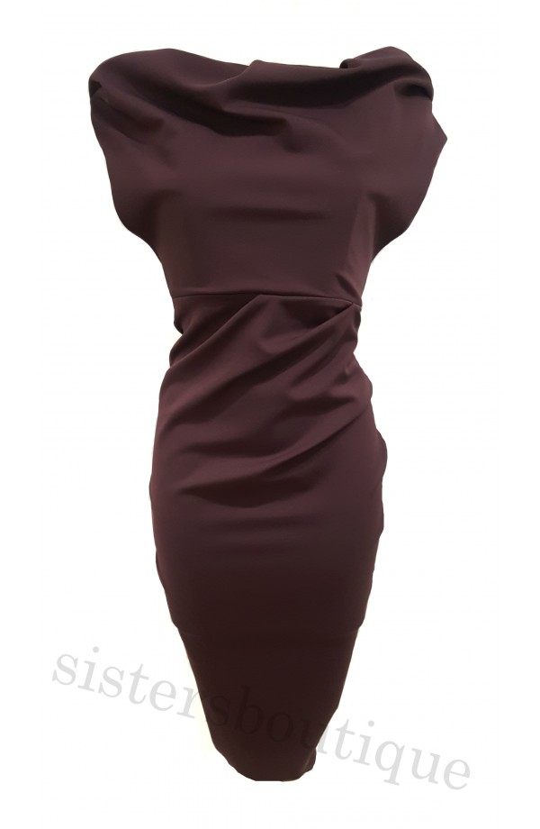 Kevan Jon Sian Drape Dress Aubergine