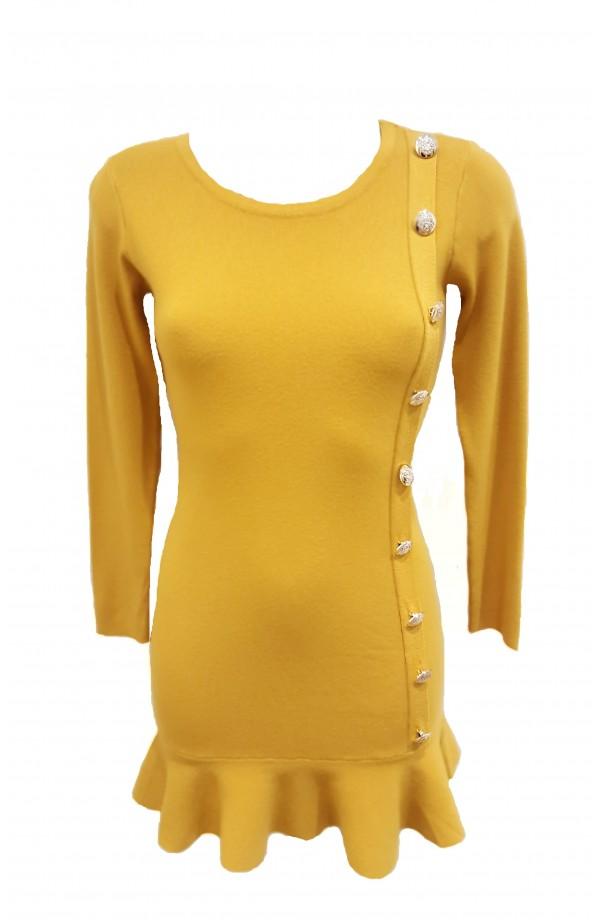 Gold Button Ruffle Hem Tunic Mustard