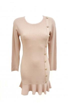 Gold Button Ruffle Hem Tunic Pink