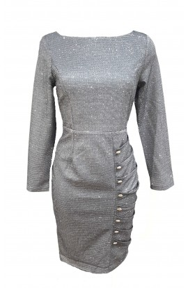 Glitter Button Front Dress Silver