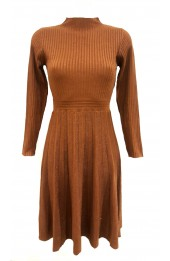 Pleated Knit Lurex Dress Bronze