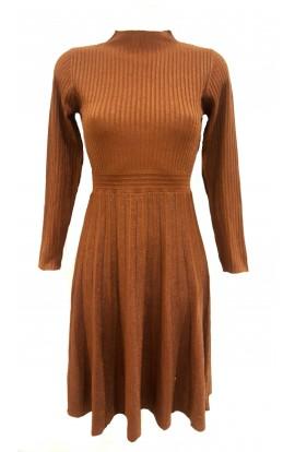 Pleated Knit Lurex Dress Bronze