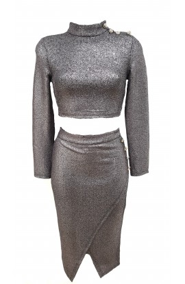 Glitter Co-ord Set Silver
