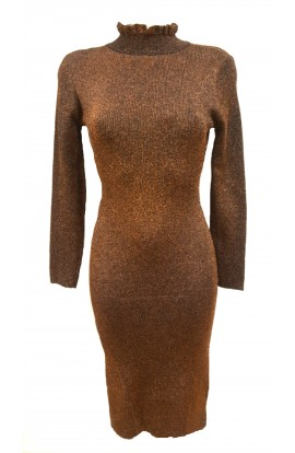 Lurex Ruffle Neck Dress Bronze