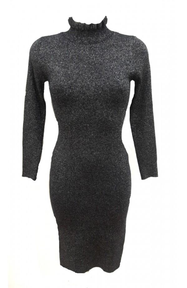 Lurex Ruffle Neck Dress Black