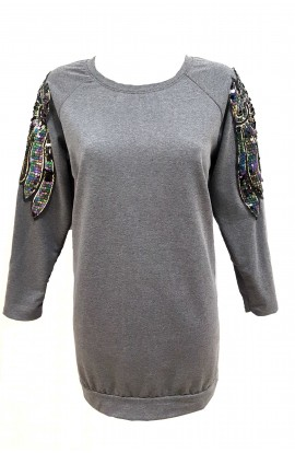 Sequin Angel Wing Sweater Tunic