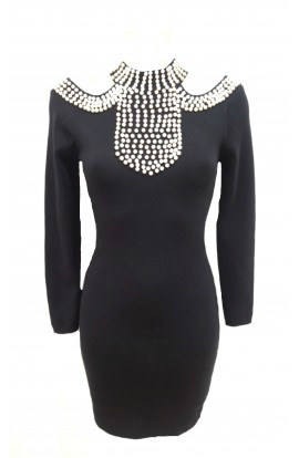 Pearl Neck Knit Dress
