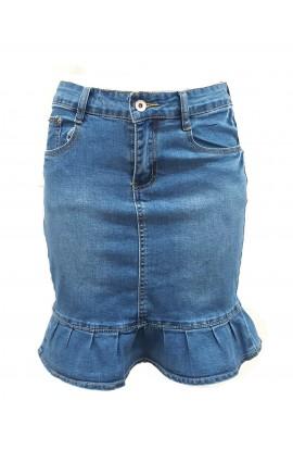 Frill Detail Denim Skirt  Blue