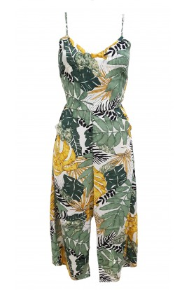 Palm Print Coulotte Jumpsuit