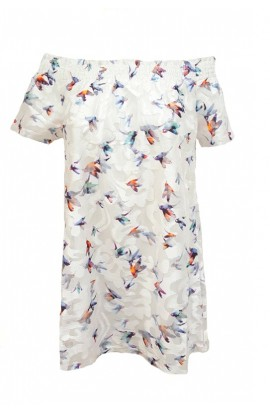 Bird Print Dress White