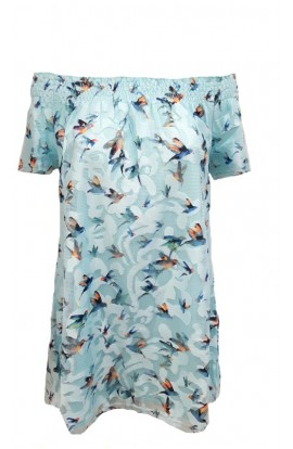 Bird Print Dress Blue