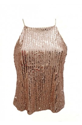 Sequin High Neck Top Rose