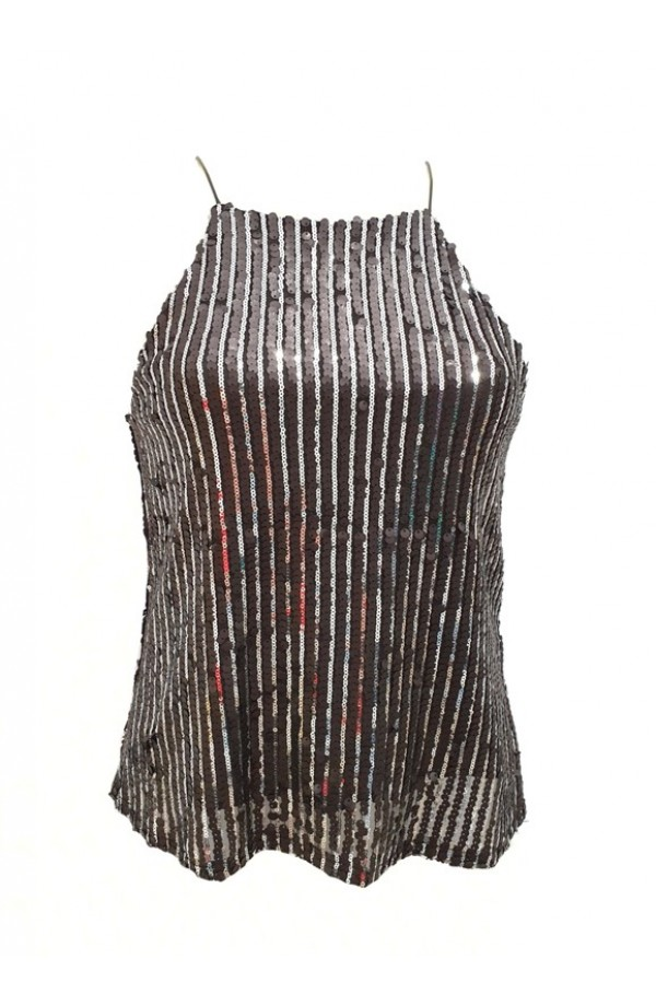 Sequin Vest Black