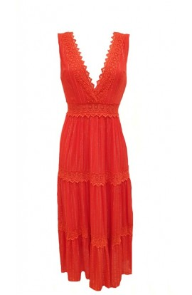 Pinstripe Dress Coral