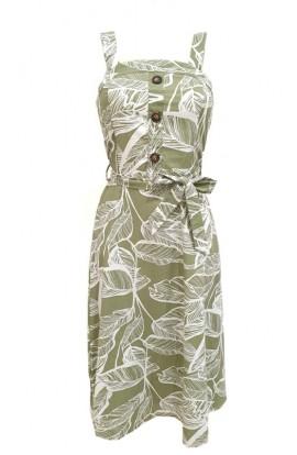 Leaf Print Dress Khaki