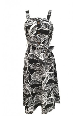 Leaf Print Dress Black
