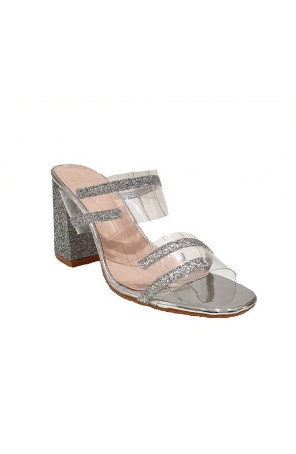 Glitter Band Block Heel Silver