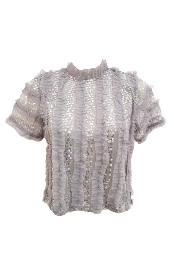Sequin & Tulle Frill Top Grey