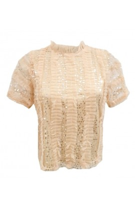 Sequin & Tulle Frill Top Peach