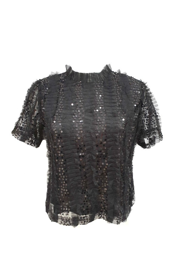 Sequin & Tulle Frill Top Black